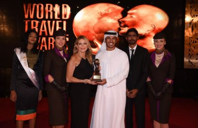 Etihad Airways Vice President Guest Services Linda Celestino and Manager Marketing Communications Abdulrahman Al-Hadhrami accept the awards for 'World's Leading Airline' and 'World's Leading Airline – First Class' during the 23rd World Travel Awards held in the Maldives.