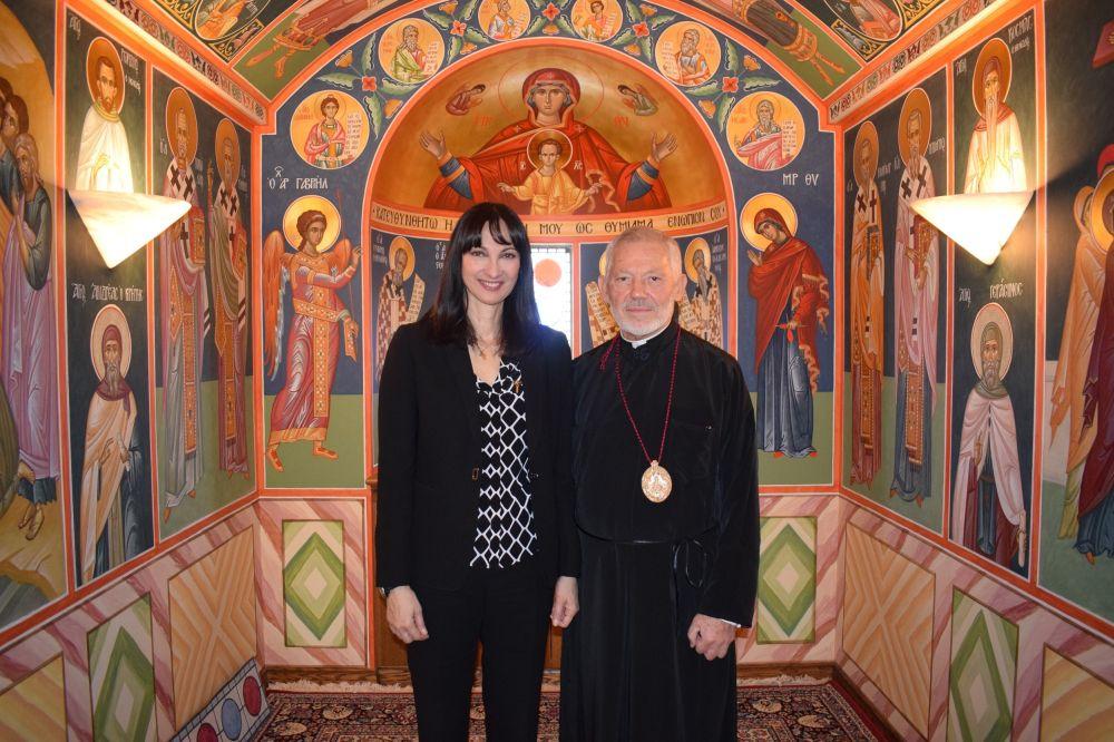 Tourism Minister Elena Kountoura and Metropolitan Archbishop Sotirios.