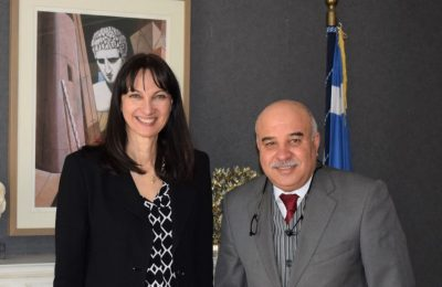 Greek Tourism Minister Elena Kountoura and the Ambassador of Tunisia to Greece, Dr. Lassaad Mhirsi.