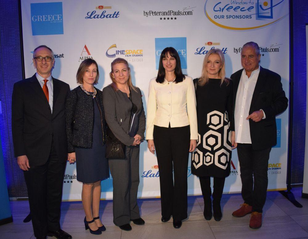 """Window in Greece"" event in Toronto: Tourism Minister Elena Kountoura with the Consul General of Greece in Toronto, Alexandros Ioannidis."