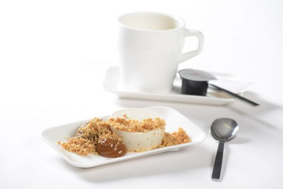 Vanilla and amaretto panna cotta with dried pear jelly, dulce de leche, malt crumble 4