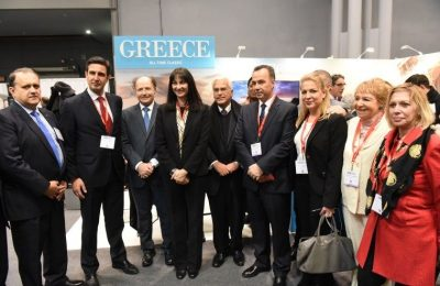 Tourism Minister Elena Kountoura inaugurating the Greek stand at the 2017 New York Times Travel Show.