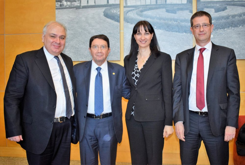 The Ambassador of Greece in Madrid, Christodoulos Lazaris, UNWTO Secretary General Taleb Rifai, Tourism Minister Elena Kountoura and Secretary General for Tourism Policy and Development, Yiorgos Tziallas.