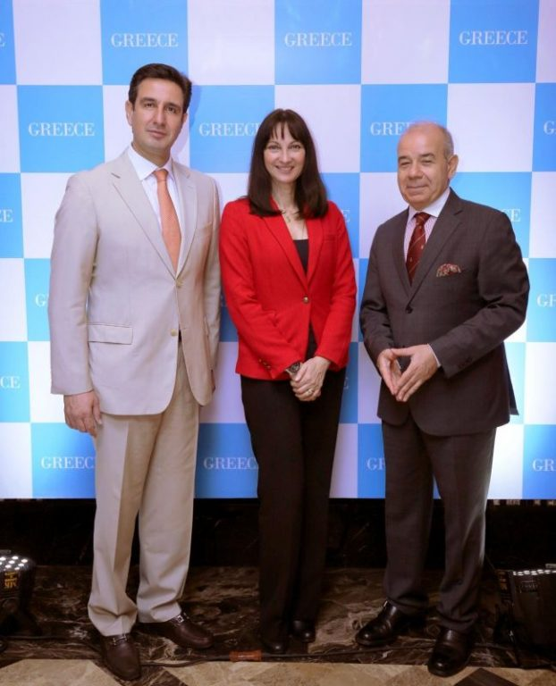 Greek Tourism Minister Elena Kountoura with GNTO's Secretary General, Dimitris Tryfonopoulos andthe Ambassador of Greece in New Delhi, Panos Kalogeropoulos.