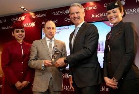 Qatar Airways Group Chief Executive Akbar Al Baker presents Auckland Airport Chief Executive Adrian Littlewood an official gift at the recent Qatar Airways press conference in Auckland.
