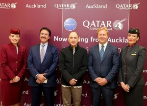 Ambassador Nasser bin Hamad Mubarak Al-Khalifa, Qatar Airways Group Chief Executive Akbar Al Baker and Todd McClay, Minister of Trade and State Owned Enterprises.
