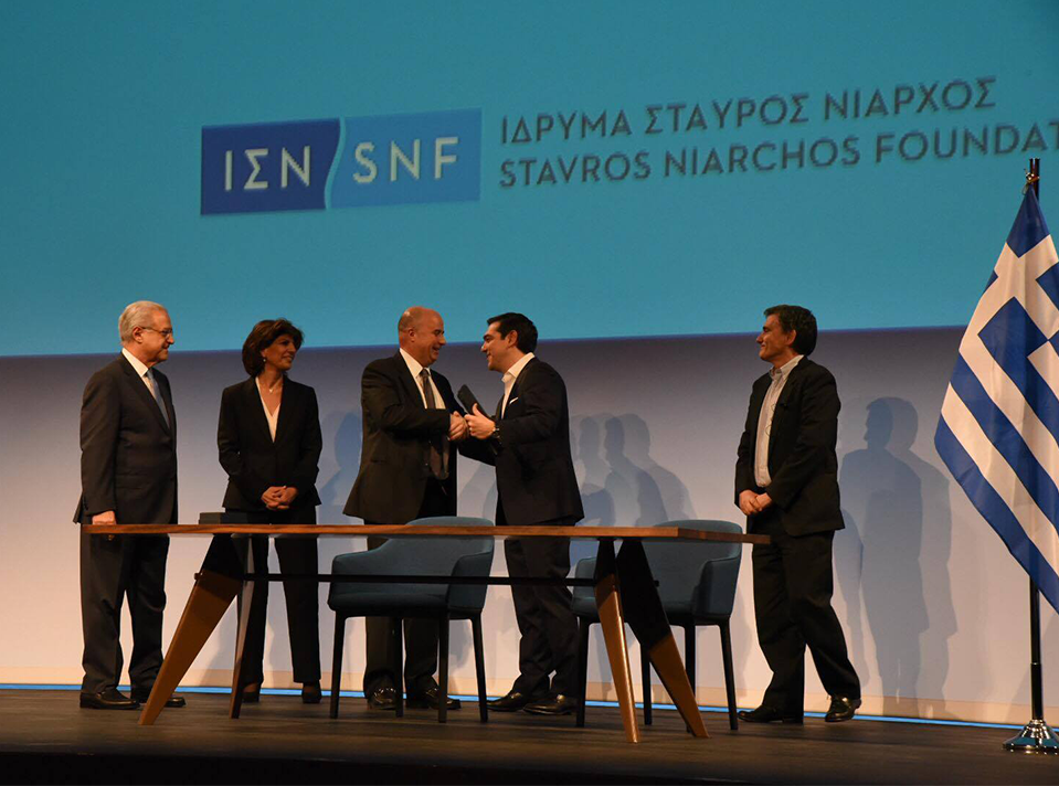 Stavros Niarchos Foundation Co-President and Director Andreas Dracopoulos and Prime Minister Alexis Tsipras during the completion of the delivery of the Stavros Niarchos Foundation Cultural Center to the Greek State.