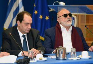 Infrastructure Minister Christos Spirtzis and Shipping Minister Panagiotis Kouroumblis.