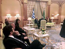 Tourism Minister Kountoura (left) during a meeting held between President of the Hellenic Republic Prokopis Pavlopoulos and King of Saudi Arabia Salman bin Abdulaziz Al Saud (far right) in Riyadh.