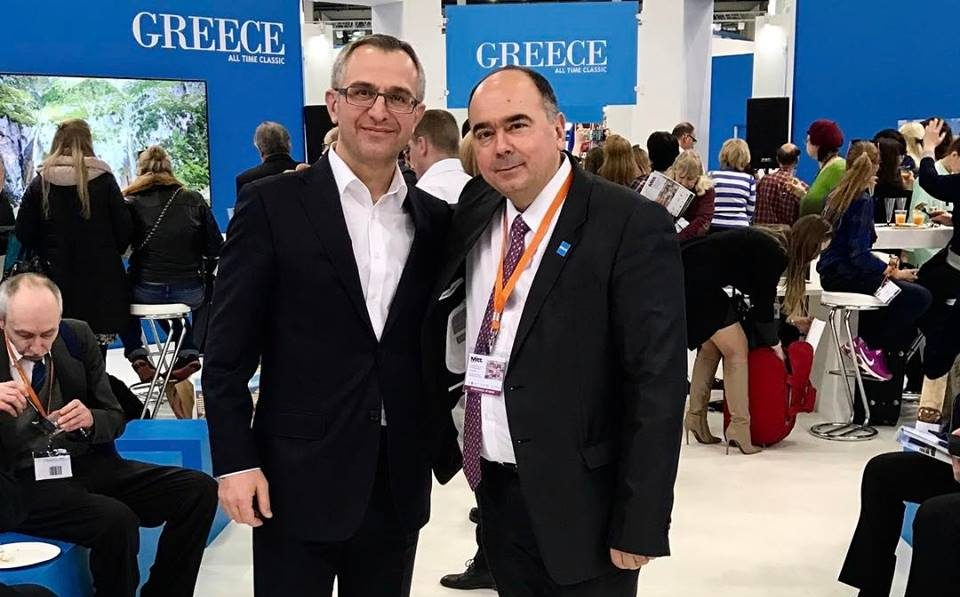 GNTO Director for Dept Russia and CIS Polykarpos Efstathiou & Alexandros Tsantekidis, Director of Mouzenidis Travel Moscow
