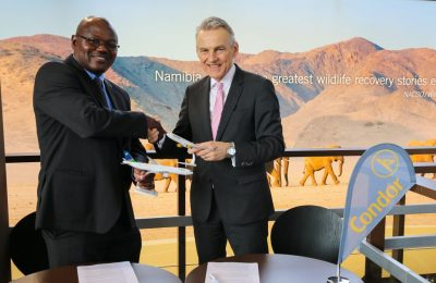 Xavier Masule, general manager for commercial services at Air Namibia (left) and Ralf Teckentrup, board chairman at Condor Airline.