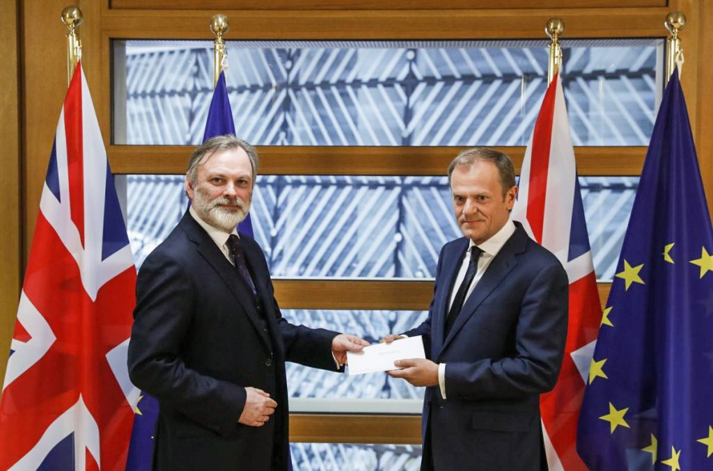 The Article 50 notification letter was delivered to European Council President Donald Tusk by British Ambassador to the EU Tim Barrow on March 29.