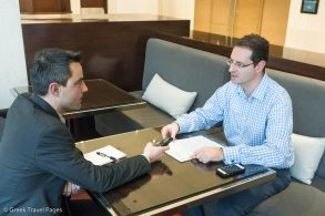 Sabre's country director for Greece and Cyprus, Andreas Syrigos (R), talking to GTP Headlines' managing editor, Nikos Krinis, on the company's new regional operating model for Cyprus and Greece.
