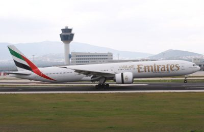 The Emirates B777-300ER landing at Athens International Airport at 14:25 local time on Sunday, March 12.