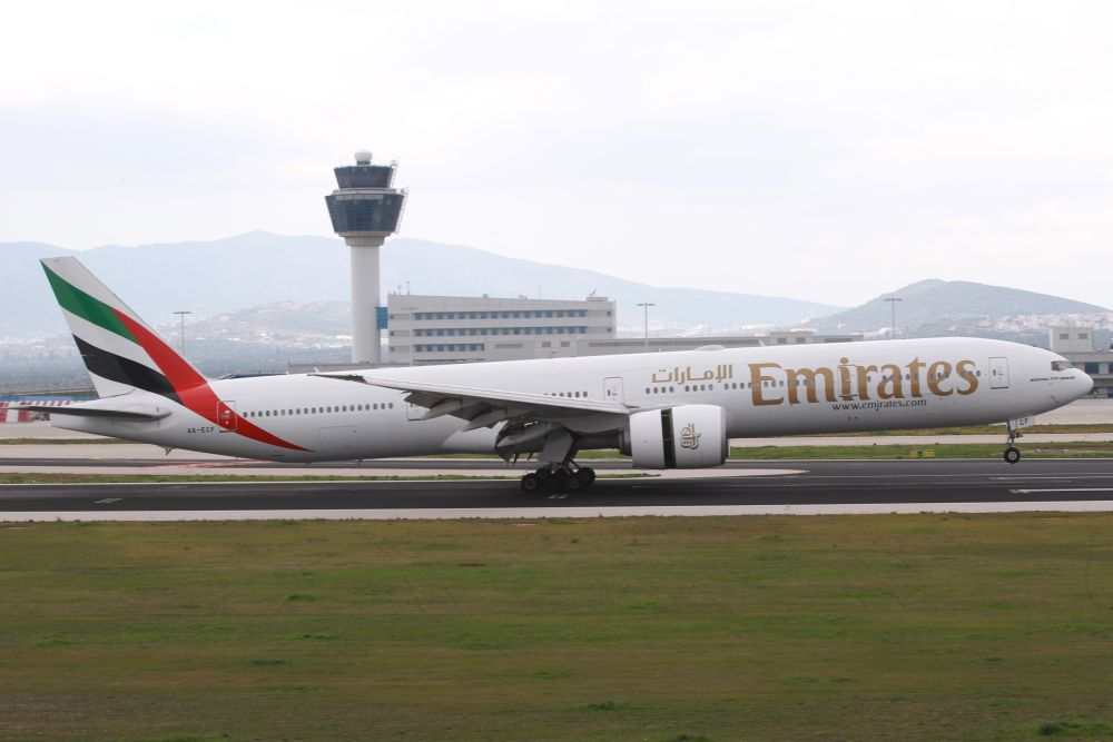 Emirates B777-300ER at Athens International Airport.