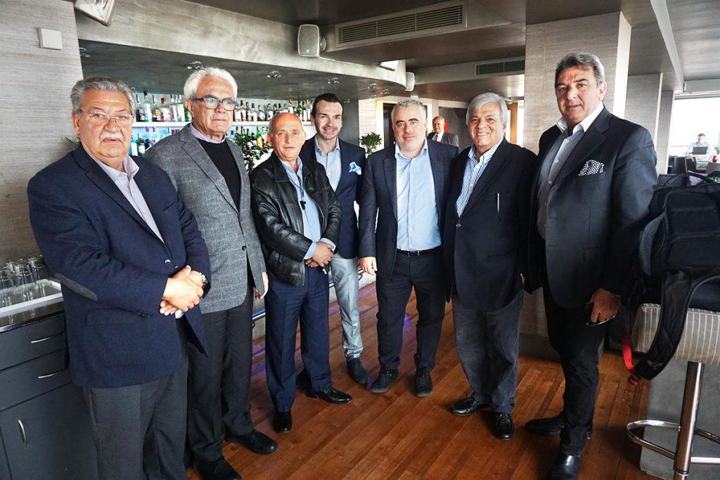GEPOET's Kostas Palaskonis, president; Theodoros Karamitros, member; Yiorgos Tsopanas, member; Spyros Kapitsinas, general manager; Aris MArinis, secretary general; Yiorgos Vasilakis, member; and Stahis Vasiliadis, vice president.