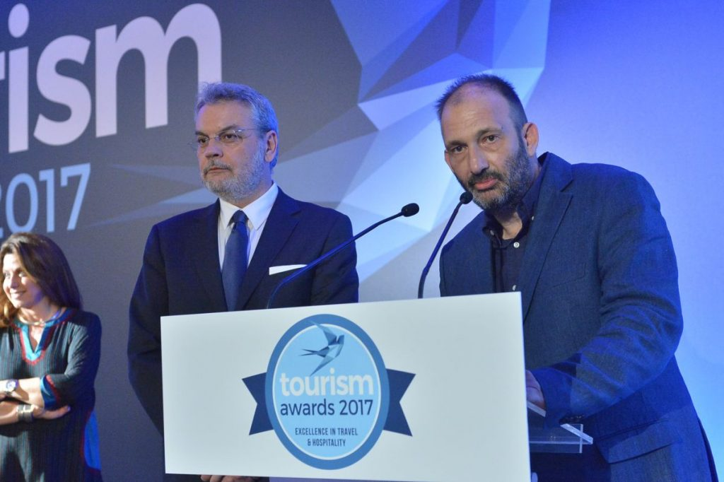 HotelBrain's owner and founder, Panos Palaiologos (R), and CEO, Konstantinos Zikos.