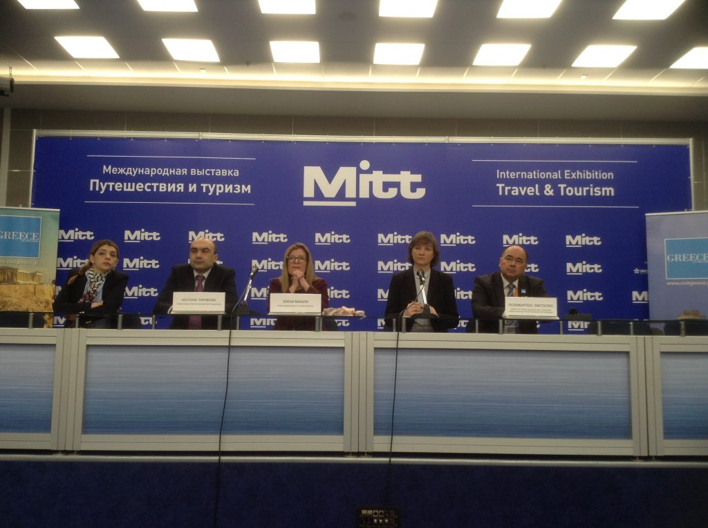 GNTO press conference at MITT 2017: Nestoras Tyrovouzis Greek Embassy press officer; Eleni Vakalis, Consul General of Greece in Moscow; and Polykarpos Efstathiou, GNTO Director for Dept Russia and CIS.