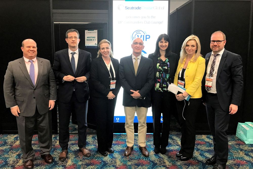 Tourism Minister Elena Kountoura with CLIA representatives Charles Bud Darr (Vice-President) and Tom Fecke (Secretary General) and CLIA Europe President Kyriakos Anastasiadis.