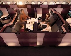 Qatar Airways' Qsuite for Business Class.