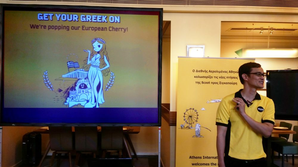 """Scoot's ad announcing that Athens is the airline's very first destination in Europe. """"We like to think of ourselves as fun and differentiate from other airlines that are out there"""", Lee Lik Hsin, Chief Executive Officer, BAH, told Greek journalists while giving some examples of Scoot's marketing approach."""