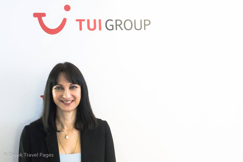 Tourism Minister Elena Kountoura during her visit to the office of TUI in Berlin. TUI is currently seeing a 30 percent surge in bookings to Greece.