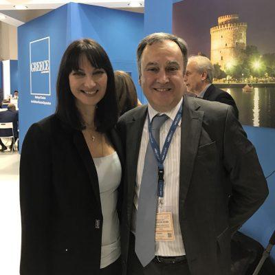 Tourism Minister Elena Kountoura with Thessaloniki Hotels Association President Aristotelis Thomopoulos.