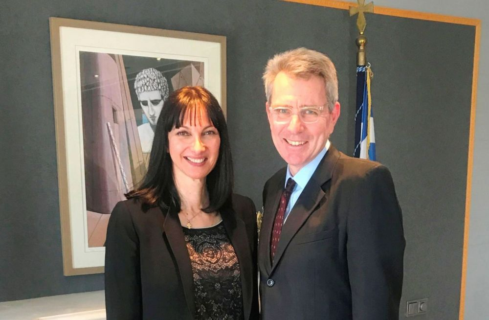 Tourism Minister Elena Kountoura and US Ambassador to Greece, Geoffrey Pyatt.
