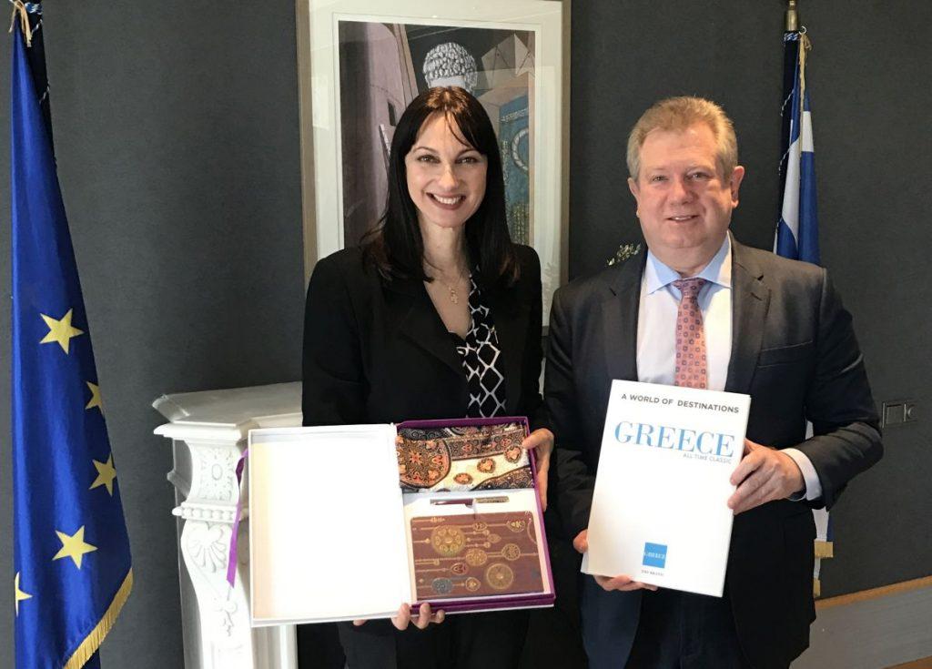 Greek Tourism Minister Elena Kountoura and the Ambassador of Kazakhstan in Athens, Alexei Volkov.