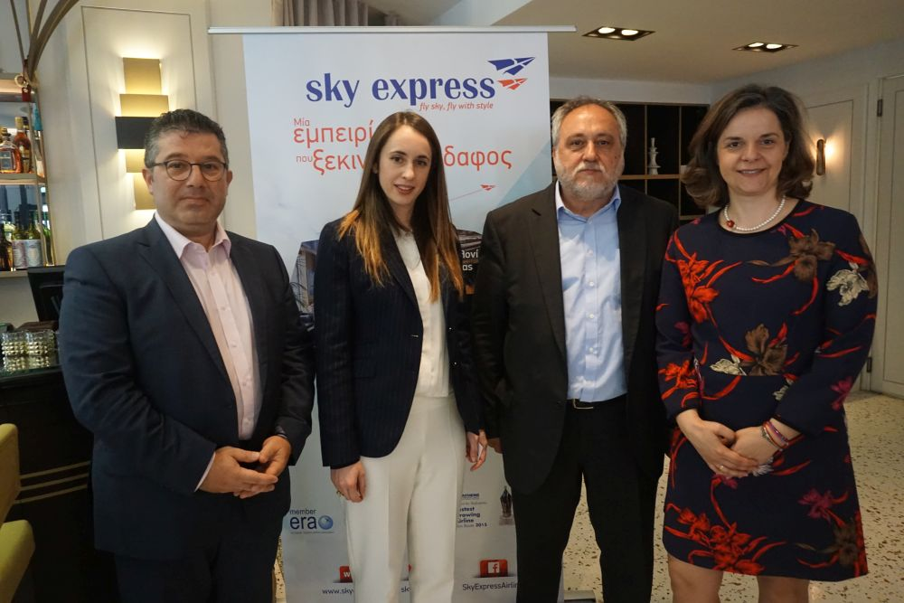 Sky Express' commercial director, Yiannis Lidakis; CEO, Niki Karagoule Karageorgiou; Chairman, Theodoros Krokidas; and the general manager of AviaReps Group, Vasiliki Christidi.