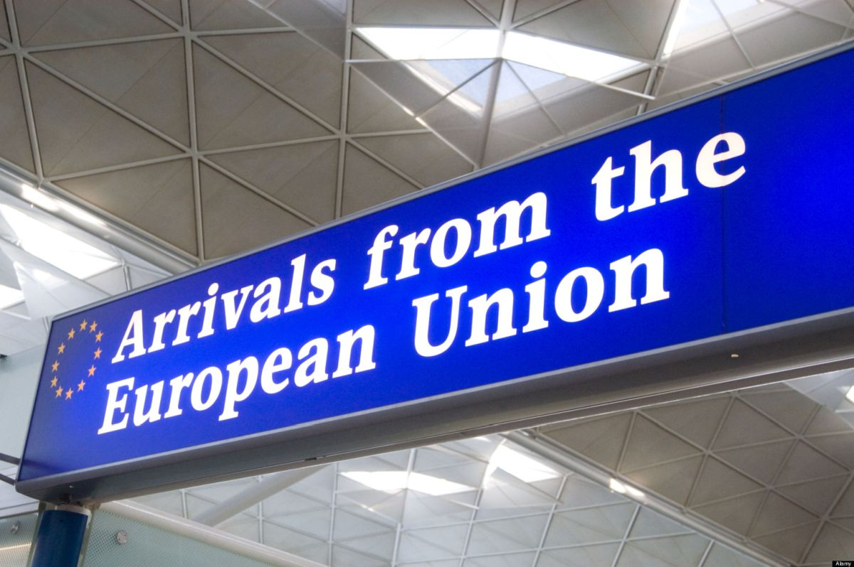 European Union customs channel at Stansted Airport, England, Britain UK