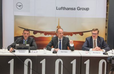 Konstantinos Tzevelekos, General Manager for Passenger Sales in Greece and Cyprus; Peter Pullem, Head of Sales Central, Eastern and Southeastern Europe; Boris Ogursky, Spokesperson Europe, Media Relations