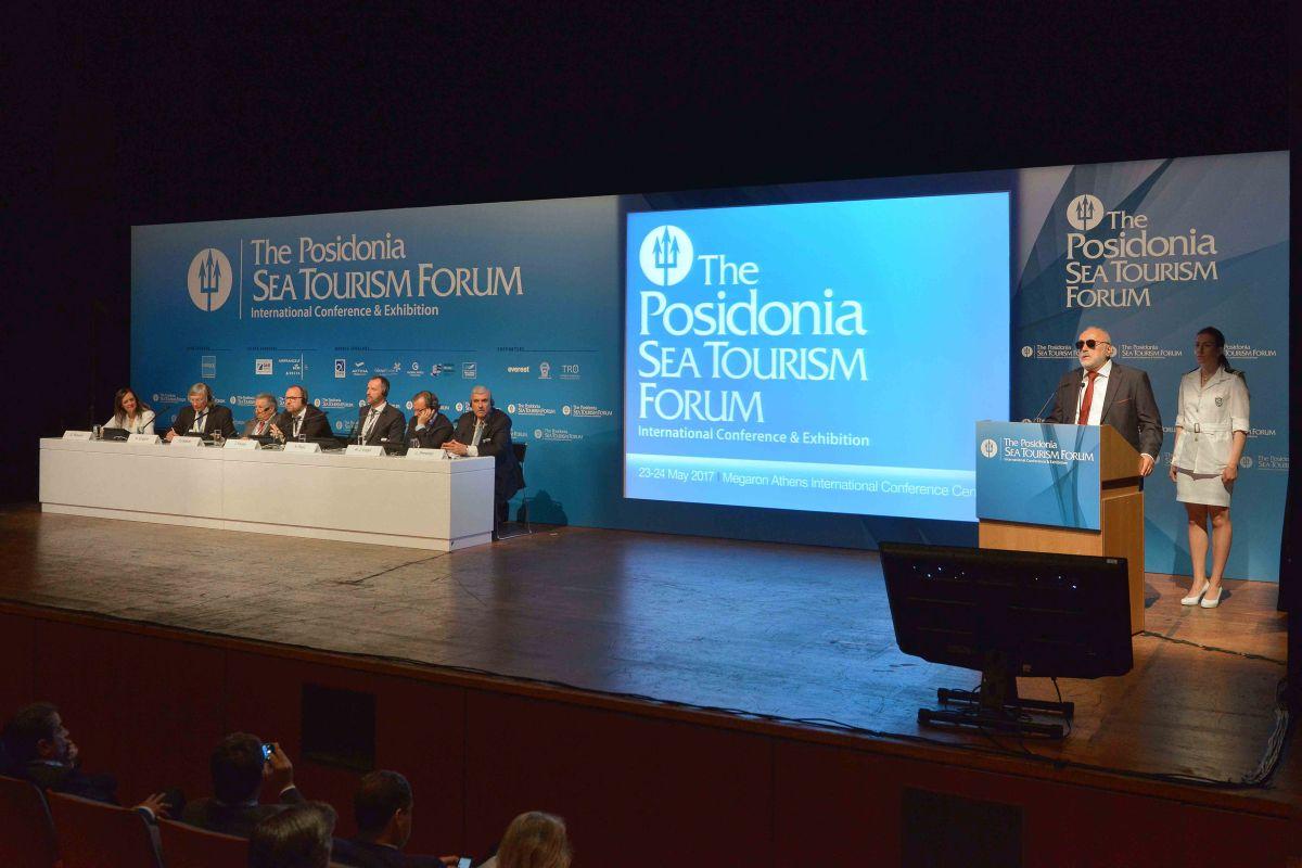Greek Shipping Minister Panagiotis Kouroumplis speaking during the 4th Posidonia Sea Tourism Forum in Athens.
