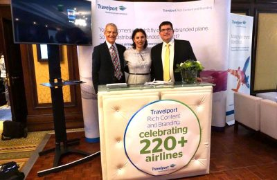 Bryan Conway, Head of Travelport Digital; Joëlle Watkins, Senior Marketing Manager, Airlines; and Ian Heywood, Global Head of Product & Marketing, Air Commerce.