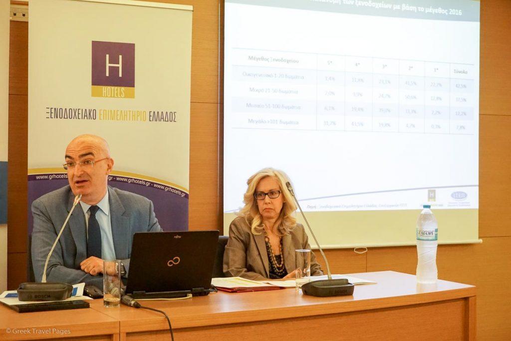 Hellenic Chamber of Hotels President Yiorgos Tsakiris and Director Agni Christidou.