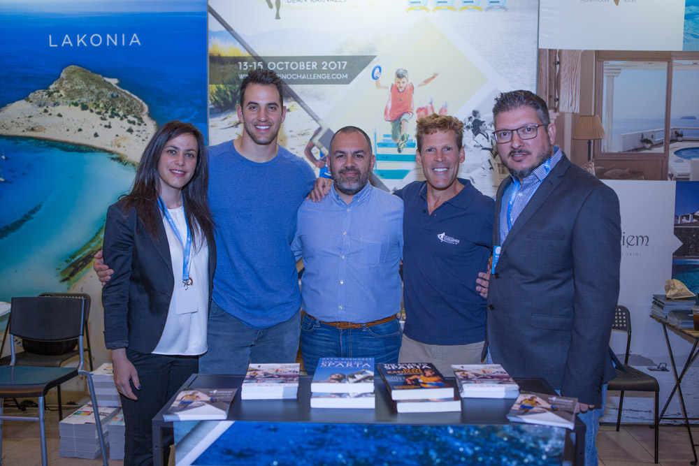 Active Media Group's Marketing & Sponsorship Manager, Niki Molfeta; Greek-American Super Bowl finalist, former NFL linebacker Niko Koutouvides; Greek journalist Nikos Papaioannou; Greek American ultramarathon runner Dean Karnazes; and Active Media Group's Chief Executive Officer, Akis Tsolis.