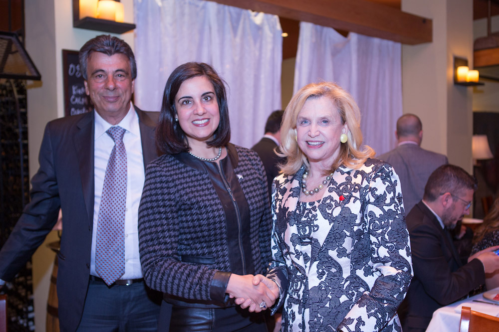 MP Carolyn Maloney (right) with Greek-American Nicole Malliotakis (running for Mayor of New York City) and Nikos Fyllas of Hellas North American Events and Hellas FM. Photo credit: Greek Panorama