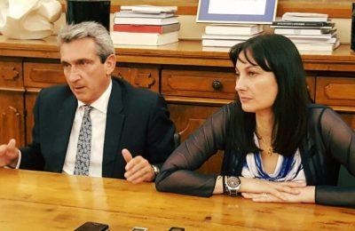Southern Aegean Regional Governor Giorgos Hadjimarkos and Greek Tourism Minister Elena Kountoura.