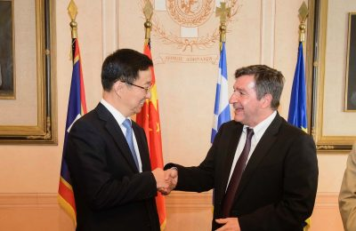 Shanghai Municipality Communist Party Secretary Han Zheng and Mayor of Athens Giorgos Kaminis, © Studio Kominis