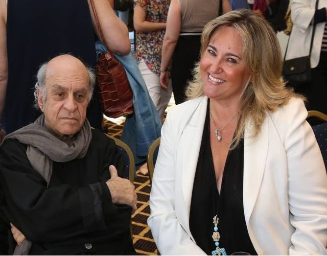 Association of Greek Women in Tourism Special Secretary Vicky Evangeliou with acclaimed Greek artist Alekos Fassianos, the creator of the Tourism museum's logo.