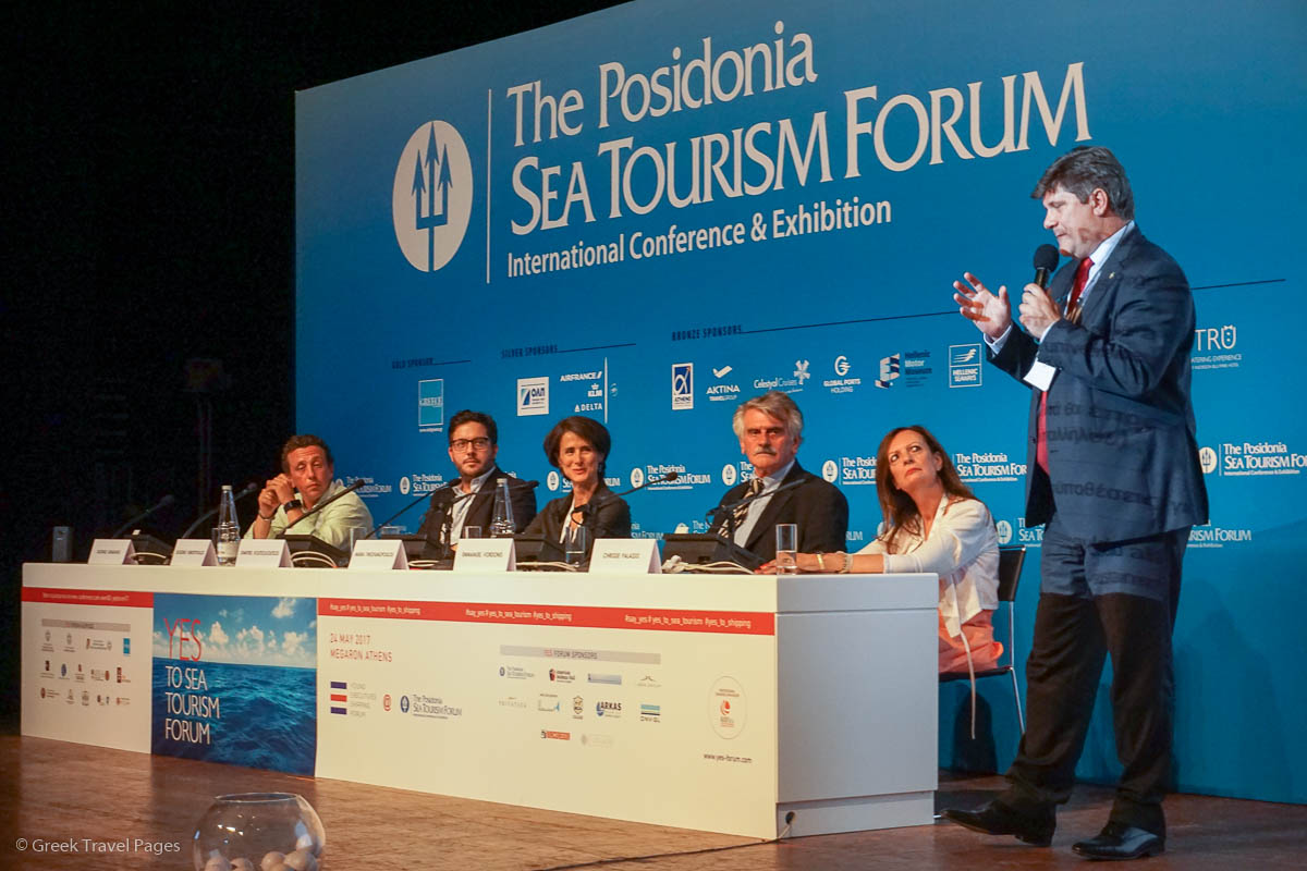 Diogenis Venetopoulos, Partner and Vice President Sales, Variety Cruises; Dimitris Koutsolioutsos, CEO and Founder of INSTAYACHT – Farmers Republic; Maria Theofanopoulou, Publisher, Greek Travel Pages; Emmanuel Vordonis, President of Poseidonion Grand Hotel; and Chrissie Palassis, Partner, CTM Hellas. The discussion was led by George Xiradakis, Managing Director of XRTC Business Consultants and President of the Propeller Club (Port of Piraeus).