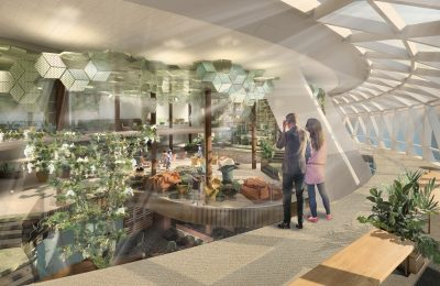 Eden has a 90-meter ramp enveloping the space enabling guests to meander through the space on a serpentine journey of discovery. Eden has a 90-meter ramp enveloping the space enabling guests to meander through the space on a serpentine journey of discovery.