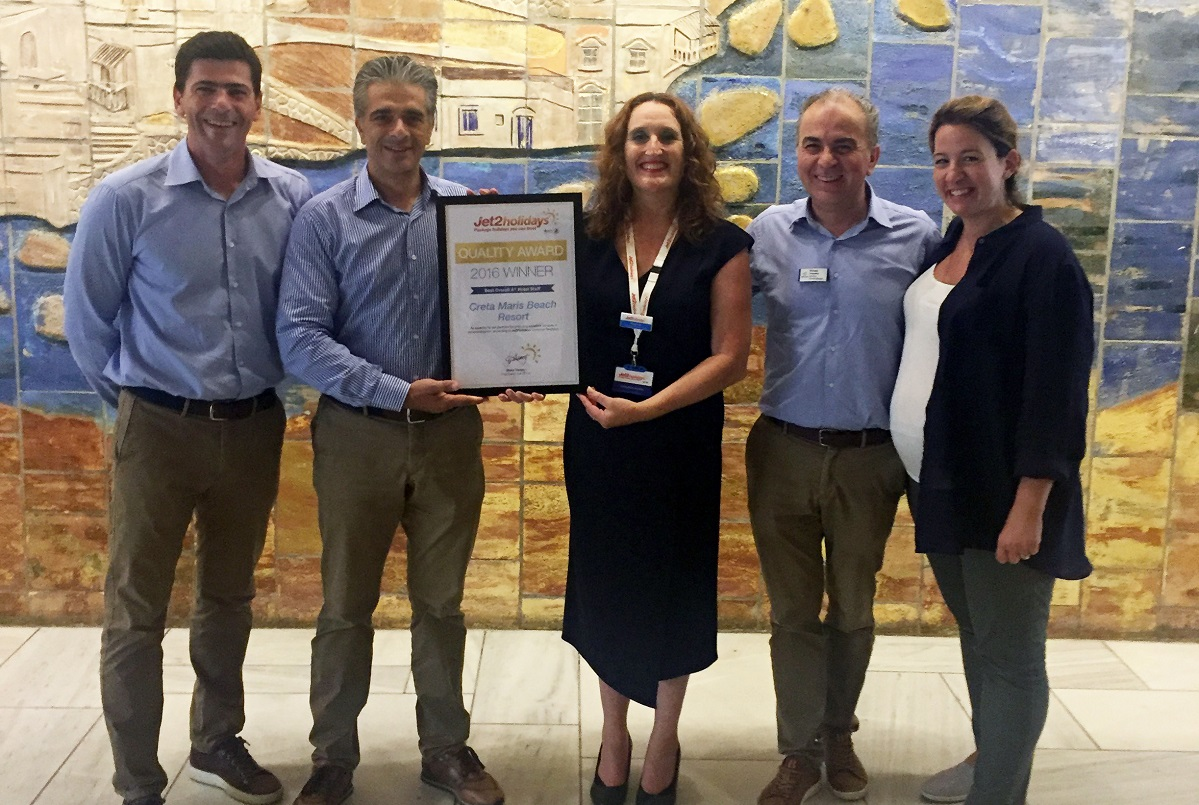 Manos Kapetanakis, purchasing, food and beverage manager and Nikos Vlassiadis, general manager of Creta Maris Beach Resort; Tracy Lea, destination manager – Crete, Jet2Holidays; Michalis Roussakis, assistant general manager and Faye Papaioannou, marketing and PR manager of Creta Maris Beach Resort.