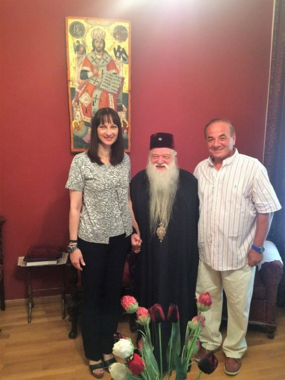 Tourism Minister Elena Kountoura and the Metropolitan of Kalavryta and Aegialia Amvrosios.