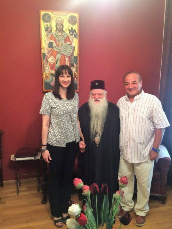 Tourism Minister Elena Kountoura and the Metropolitan of Kalavryta and Aegialia Amvrosios.