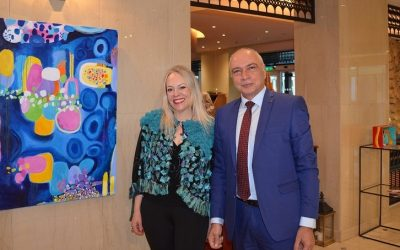Artist Joanna Chrysohoidis and Sofitel Athens Airport general manager George Stavrou