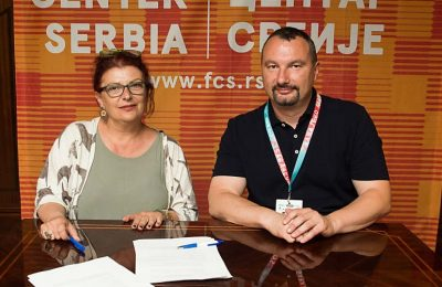 Greek Film Center director General Electra Venaki and Film Center Serbia director Boban Jevtić