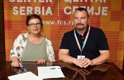 Greek Film Center director General Electra Venaki and Film Center Serbia director Boban Jevtić