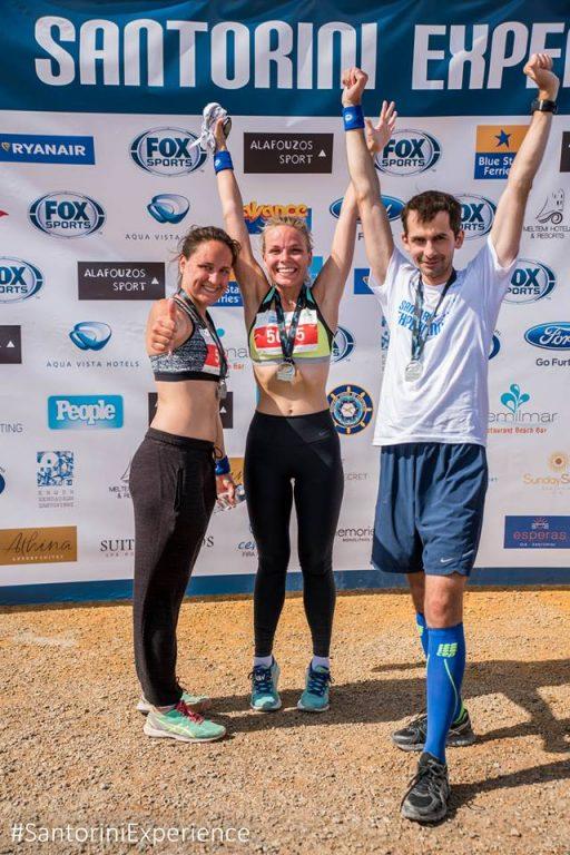 "Athlete Elena Klezovich (center) at the 2nd ""Santorini Experience"". Photo credit: Elias Lefas"