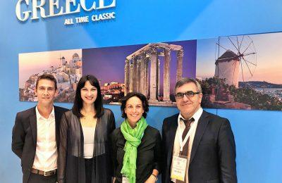 Greek Tourism Minister Elena Kountoura with GNTO of the Konstantinos Tsegas and Transavia CEO & Chief Executive Officer Nathalie Stubler.